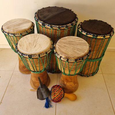 Seven Piece African Drum Set